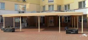 Навес для летней площадки ресторана шитый из маркизной ткани
